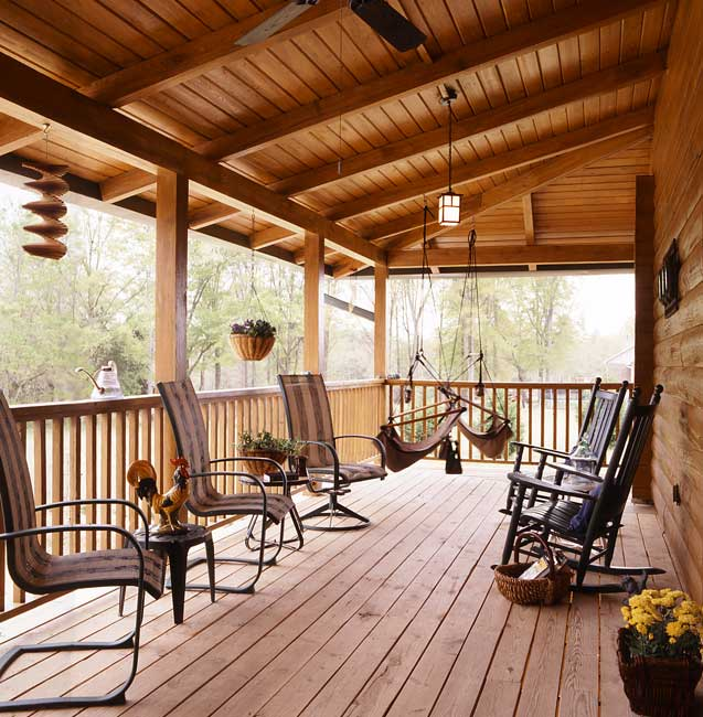 porch on log home