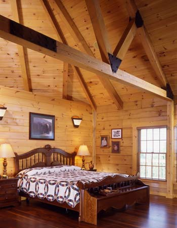 Creative Master Suite in a Log Home