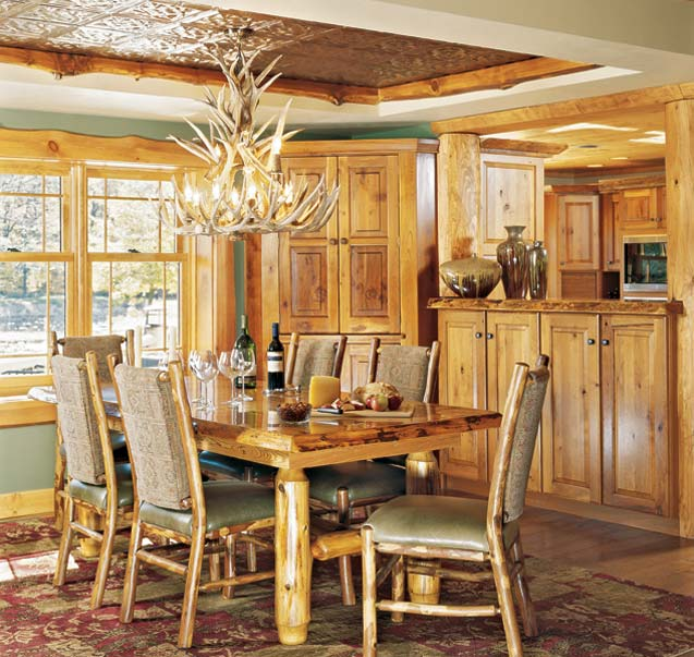 Chandelier in a Log Home Dining Room