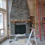 Fireplace Construction | Wisconsin Log Homes Photo