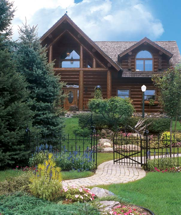 garland log homes, log home and garden