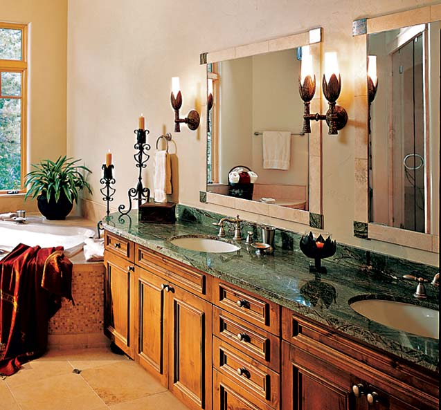 Lighting in a Log Home Bathroom