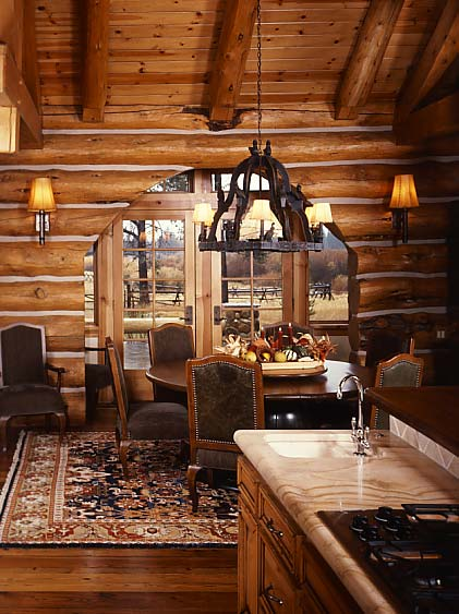 Practical lighting tips for log homes for Log cabin chandelier