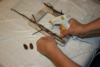 add twigs to decoupage