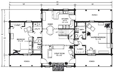 Merrylog floor plan by Brentwood Log Homes