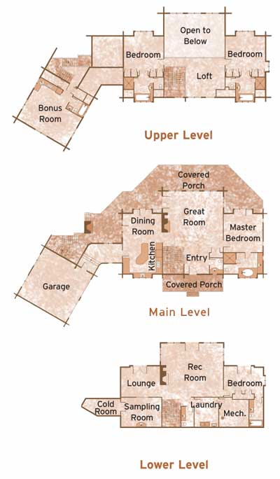 SCHLENTHER by Moose Mountain Log Homes Floorplans