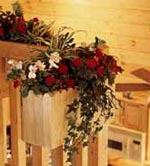 log home plant decor