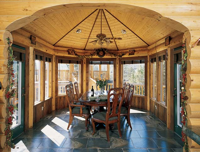 Vaulted Log Home Sunroom Ceiling