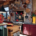A faux fireplace mantel and pot racks make for a kitchen nook that's both useful and decorative.