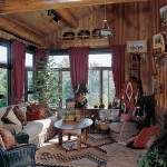 A large kilim rug anchors the furniture in this sunlit sitting room.