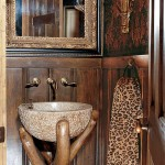 A granite bowl and old cedar tree branch unite to become a one-of-a-kind pedestal sink.