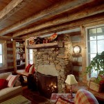 The builder used creek stone and larger rocks salvaged from a nearby razed farmhouse for the fireplace. For safety, the flue is made of clay tile.