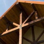 Close up of the timber framing
