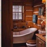 Claw-foot tub in the rustic master bathroom