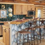Kitchen/bar area of the log home
