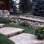 Stonework Pathway and Rock Walls in the Garland Log Home Garden.
