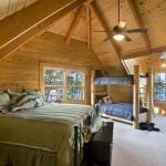 Log cabin guest bedroom