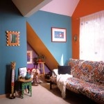 The brightly colored loft mimics the brilliant palette found elsewhere in the home, most notably the kitchen.