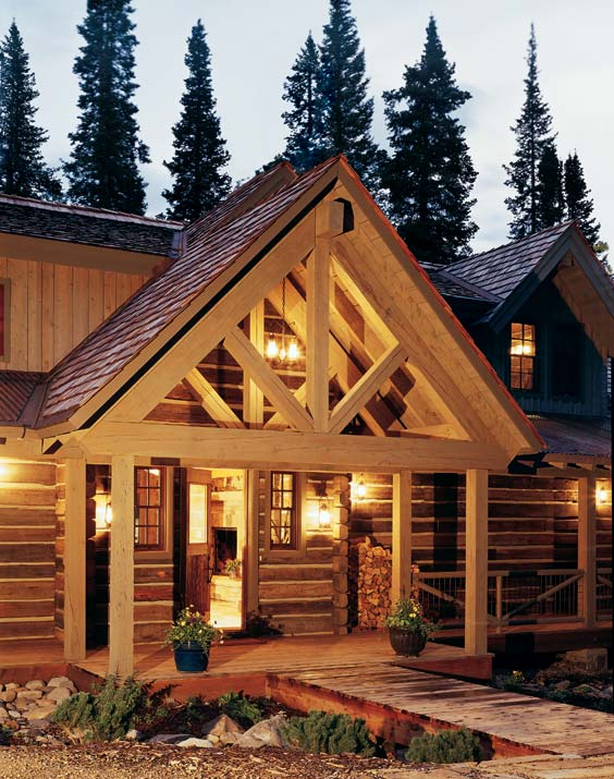 A place to call home planning a reclaimed log home log for Log home porches