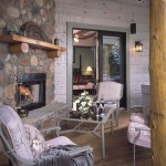 Log Home Porch with Fireplace