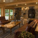 Classic Log Cabin Family Room