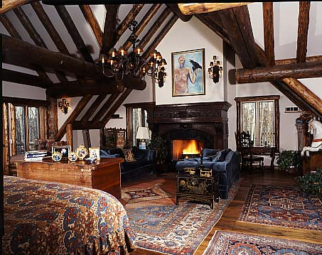Go for the European lodge look with rich colors and log accents.