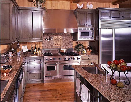 Sleek, pro-style appliances look perfect in rustic kitchens.