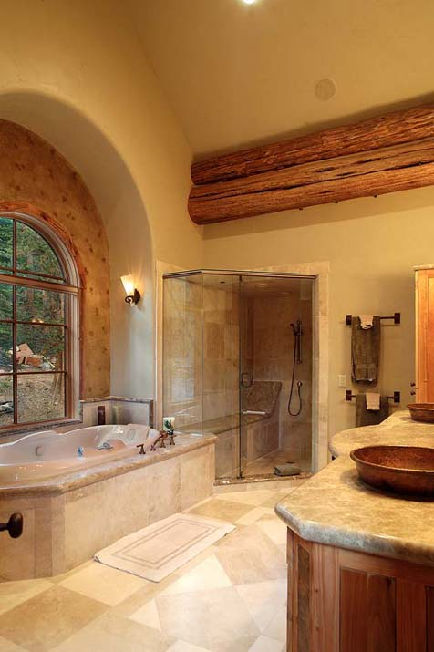 Create a spa at home with a jetted soaking tub and a great view.