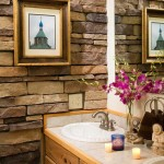 To add texture and contrast in the bathroom, the Koschmanns lined the wall with manufactured stone.
