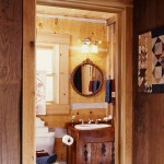 The first-floor bathroom features a handmade vanity.