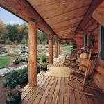 Bungalow-style log cabin entry with Douglas fir log posts and antique collectibles.