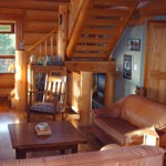 Eastern-style log home great room