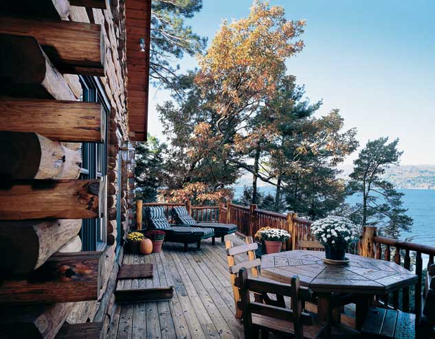 Adirondack Lakeside Log Home Deck