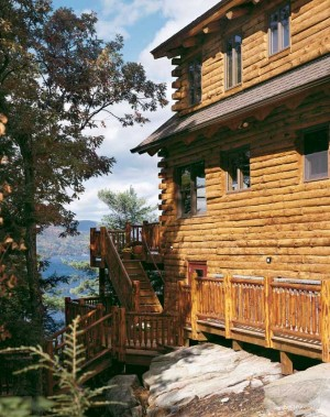 Adirondack Lakeside Log Home Exterior