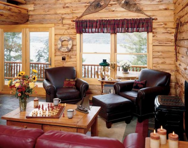 Adirondack Lakeside Log Home Living Room
