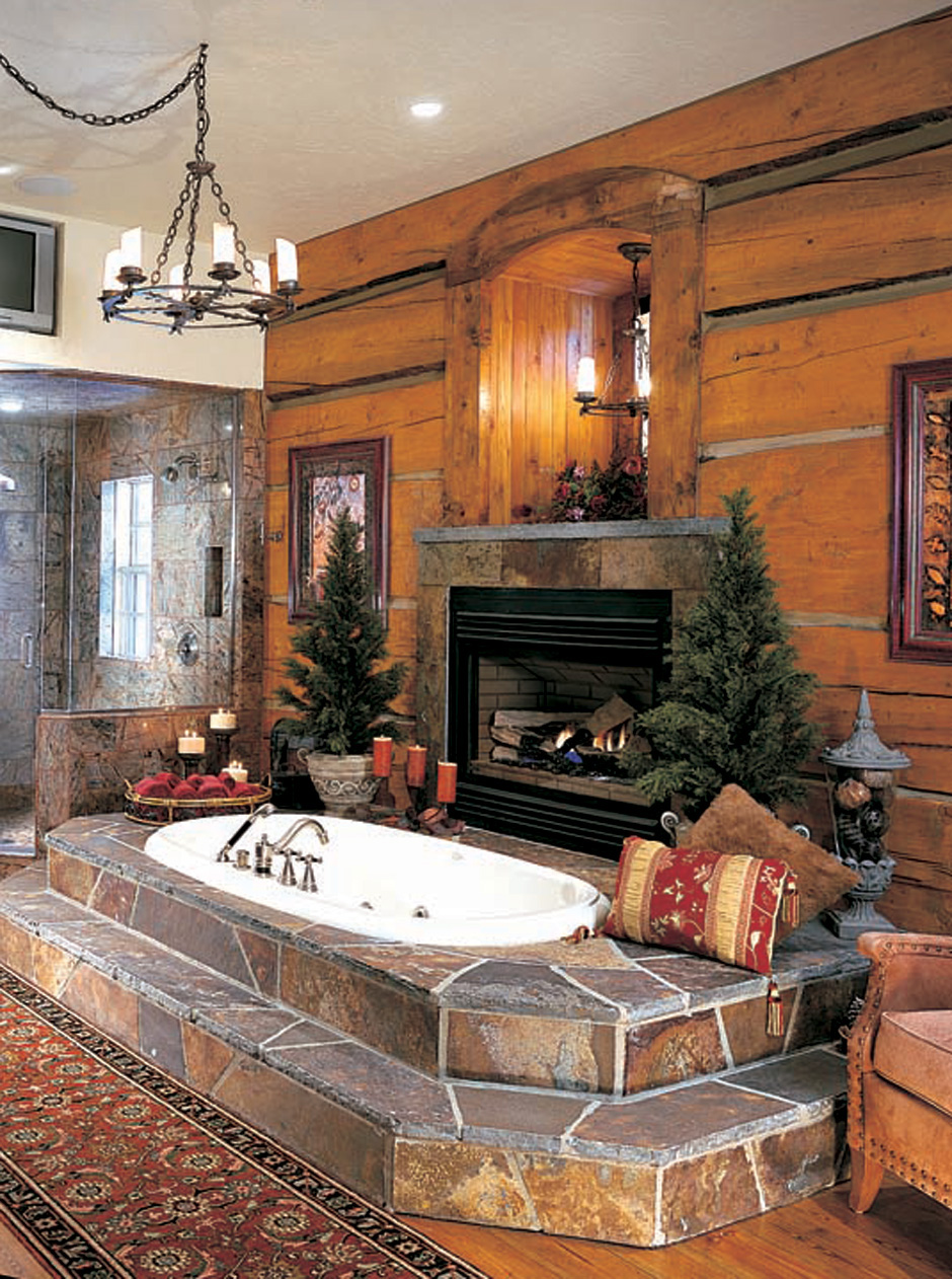 Vent free fireplaces are an option for Log cabin bathroom pictures