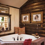 The rustic master bath is a haven for relaxtion
