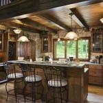 Woodsy Log Home Kitchen