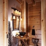 The powder room's sleek vessel sink topping a rustic base made from a teak root is in keeping with the mixed approach to the interior design.