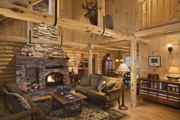 fancy log cabin living room log home in minnesota