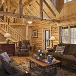 The black U-straps on the trusses add to the home's rustic look.