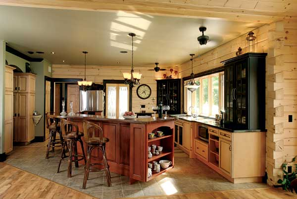 By the water 39 s edge lakeside log cabin for Log cabin kitchen islands