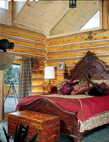 Ornate log-home bedroom