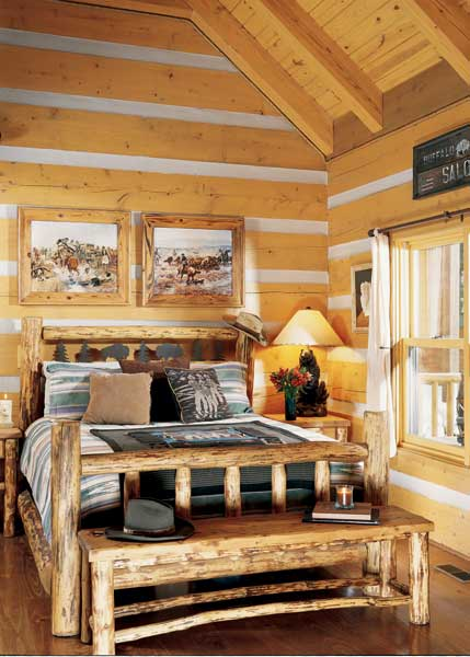 Rustic log-cabin bedroom