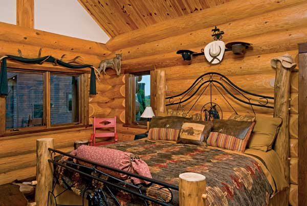 Western Log-Home Bedroom