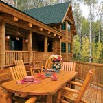 Pine patio furniture coordinates with the redwood step-down deck adjacent to the front porch. Three of the home's five bedrooms are stacked in the bay-windowed wing to the right of the great room. Gingerbread shingles coordinate with the full-scribed, lodgepole pine logs.