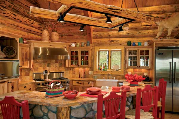 Altitude adjustment a handcrafted log home in colorado for Log cabin kitchen backsplash ideas