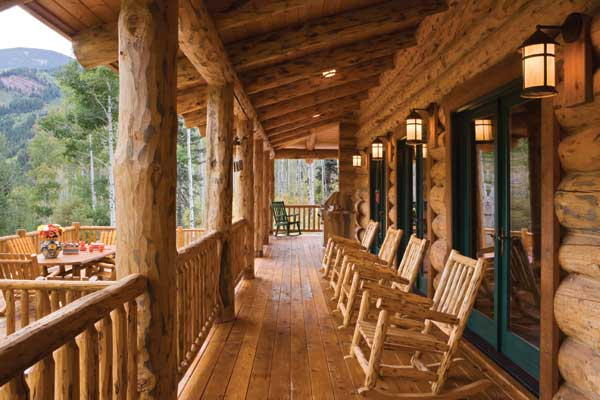 Altitude adjustment a handcrafted log home in colorado for Log home porches