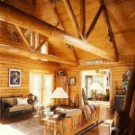 Great Room in a Hybrid Log Home