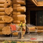 Porch of the Handcrafted Log Home